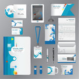 White identity template with blue origami elements. Vector compa Stock Photo
