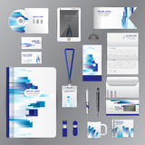 White identity template with blue origami elements. Vector compa Royalty Free Stock Photo