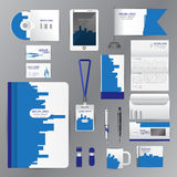 White identity template with blue origami elements. Vector company style for brandbook guideline and Pens mugs CDs books business. White set identity template
