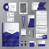 White identity template with blue origami elements. Vector compa Royalty Free Stock Photography