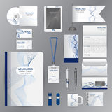 White identity template with blue origami elements. Vector compa Stock Image