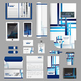 White identity template with blue origami elements. Vector compa Royalty Free Stock Images