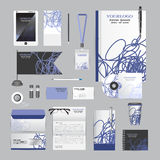 White identity template with blue origami elements. Vector compa Royalty Free Stock Photos