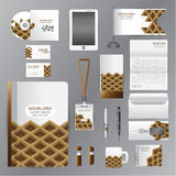 White identity template with brown triangle origami elementsVect Stock Images