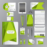 White identity template with green origami elements. Vector comp Stock Photo