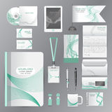 White identity template with green origami elements. Vector comp Stock Image
