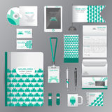 White identity template with green origami elements. Vector comp Stock Photos