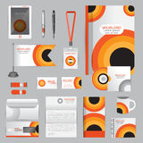 White identity template with Orange origami elements. Vector com Stock Photos