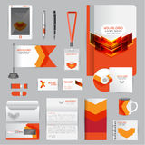 White identity template with Orange origami elements. Vector com Stock Photography