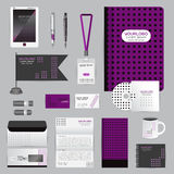 White identity template with origami elements. Vector company style for brandbook guideline and Pens mugs CDs books business cards Royalty Free Stock Photos