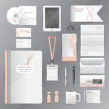 White identity template with pink origami elements. Vector compa Stock Photography