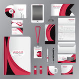 White identity template with pink origami elementsVector company Royalty Free Stock Image