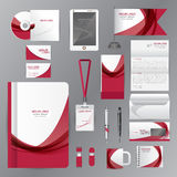 White identity template with red origami elements. Vector compan Royalty Free Stock Images