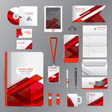 White identity template with red origami elements. Vector compan Stock Images
