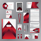 White identity template with red origami elements. Vector company style for brandbook guideline and Pens mugs CDs books business c Royalty Free Stock Image