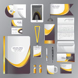 White identity template with Yellow Black origami elements. Vect Stock Image