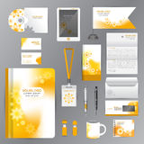 White identity template with Yellow Flower origami elements. Vec Royalty Free Stock Photos