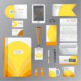White identity template with Yellow origami elements. Vector com Royalty Free Stock Image