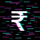 Indian rupee sign in glitch style. White Indian rupee sign in glitch style on black background Royalty Free Stock Image