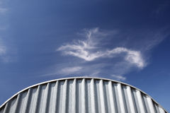 White industrial corrugated metal wall Stock Photos