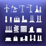 White industrial icons clip-art on color background Royalty Free Stock Images