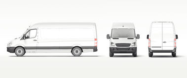 White industrial van isolated on bright background. 3d rendering. White industrial van isolated on bright background. Template for branding and corporate vector illustration