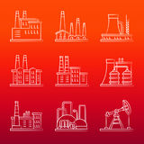 White industry powers line icons on colorful background Royalty Free Stock Images