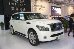 White infiniti qx80 car Stock Photos
