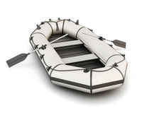 White inflatable rubber boat with oars Royalty Free Stock Photography