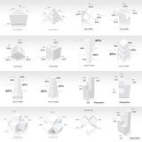 White infographic 3d Graph template Vector Stock Images