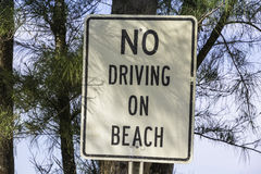 Information sign - no driving on beach Stock Images
