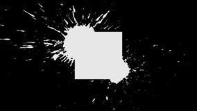 The appearance of Background ink blot - square. White ink drips onto a black background and forms a background blot for your text or logo stock illustration