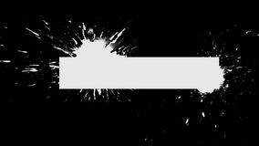 Background Ink Blob Appearance - Stretched Rectangle. White ink drips onto a black background and forms a background blot for your text or logo stock illustration