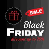 White inscription BLACK FRIDAY sale with red gift box on black background. Design template Black Friday banner. Vector stock illustration