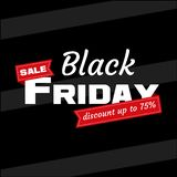 White inscription BLACK FRIDAY sale with red ribbon on black background. Design template Black Friday banner. Vector vector illustration