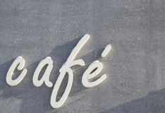 White inscription on a concrete background cafe Stock Images