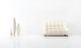 White interior. Modern white sofa in white luminous interior Royalty Free Stock Photography