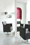 White interior. Interior of a modern hairdresser. white and red combination Royalty Free Stock Photos