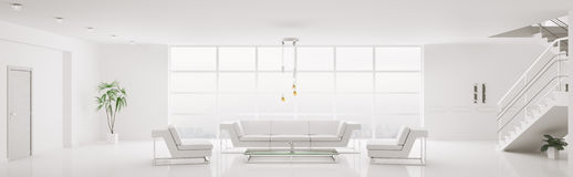 White interior of apartment panorama 3d Stock Images