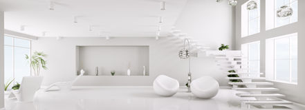 White interior of apartment panorama 3d Stock Photos