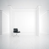 White interior with armchair and blank poster Stock Photos