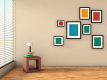 White interior with colorful paintings and lamp Royalty Free Stock Image