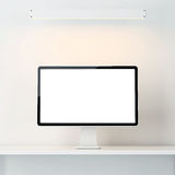 White interior with computer display Stock Photos
