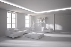 White interior concept for living room Stock Photos