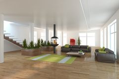 White interior concept for living room Stock Photos