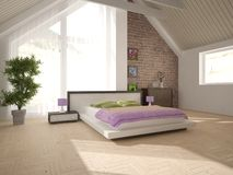 White interior design of bedroom Stock Photos