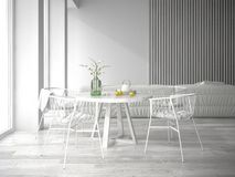 White interior design 3D rendering Royalty Free Stock Photography