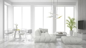 White interior design 3D rendering Royalty Free Stock Images