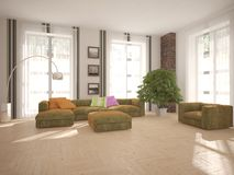 White interior design of living room Royalty Free Stock Images