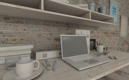 White interior desk and bookshelf Royalty Free Stock Images